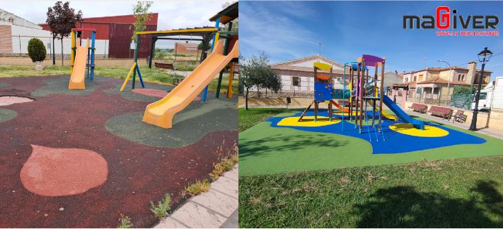 Antes y después del parque infantil